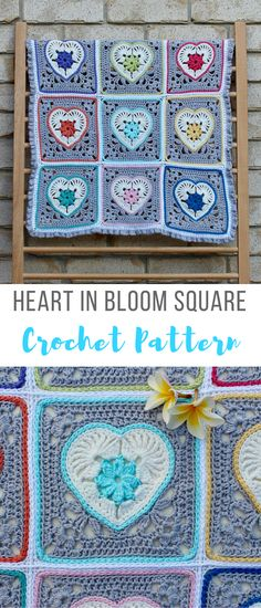 how beautiful is this?? amazing what you can do with some yarn and a crochet hook isn't it? it's called the blooming heart crochet squart motif pattern - would look awesome as a crochet blanket #crochetheartsquare #crochetheartpattern #crochetgrannysquares #crochetblanketpattern #affiliate