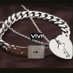 Titan-Love-Armband-Schloss-Armreif-Unisex-Titan-Schluessel-Herz-Halskette-Set