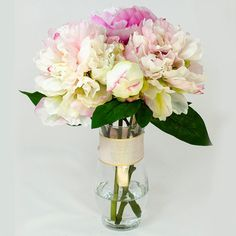 Baby Pink Fuchsia Silk Peony Arrangement in Glass Vase by flovery