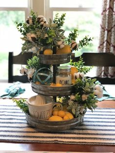 Spring decor tiered tray spring tiered trays/spring decor in Country Farmhouse Decor, Rustic Decor, Modern Farmhouse, Antique Farmhouse, Farmhouse Style, Galvanized Tiered Tray, Kitchen Tray, Lemon Kitchen Decor, Spring Kitchen Decor