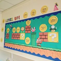 Post with 0 votes and 6962 views. Really happy with my Mario themed class rules Classroom Bulletin Boards, New Classroom, Primary Classroom, Creative Bulletin Boards, Teaching Displays, Classroom Displays, School Displays, Super Mario, Class Decoration
