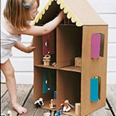 Doll house made out of cardboard box.  Love it!