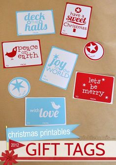 Free printable Christmas gift tags. :)