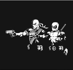 Deadpool T-Shirt by Julien Bazinet aka Baznet. Merc Fiction features Deathstroke and Deadpool in a Pulp Fiction pose. Comic Book Artists, Comic Book Characters, Comic Character, Comic Books, Dc Deathstroke, Deathstroke The Terminator, Marvel Vs, Marvel Dc Comics, Pulp Fiction