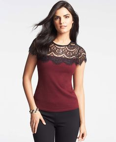 Petite Lace Top Shell | Ann Taylor