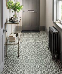 Berkeley™ Essence Eden and Cinder Tile Hall Tiles, Tiled Hallway, Victorian Hallway Tiles, Porch Tile, Flur Design, Hall Flooring, Flooring Tiles, Hallway Inspiration, Style Inspiration