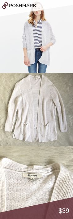 "Madewell Postscript Cardigan Excellent condition. No stains or rips. Measured while flat. Armpit to armpit 20"". Length from top of shoulder 28"". In a lightweight but cozy cotton-linen blend, this cardigan has cool ribbing for a bit of texture (plus, trusty pockets for, you know, snacks and stuff).    True to size. Linen/cotton. Madewell Sweaters Cardigans"