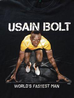 Usain Bolt Shirt Source by offerup Long Jump, High Jump, Usain Bolt, Man Cub, Triple Jump, Pole Vault, Sports Celebrities, Fastest Man, Action Poses