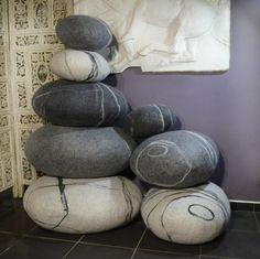 Items similar to Pouf pillows set , pillows and poufs , ottoman , round pillow on Etsy Big Pillows, Throw Pillows, Stone Rug, Grey And White, Grey Light, Dark Grey, Black, Round Ottoman, Felted Slippers