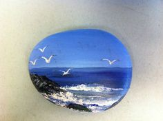 Hand Painted on a rock Seagulls Ocean View Cliffs Waves Whitecaps Art Rock