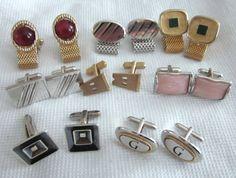 Vintage Mid Century CUFFLINK LOT Pink Thermoset by jewelryannie