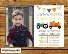 Tractors Pumpkins Bales of Hay Birthday Invitation Red Farm Animal Party, Farm Party, Fall Birthday Invitations, Baby Shower Invitations, Baby Shower Fall, Fall Baby, Printable Invitations, Party Printables