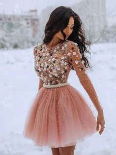 Long Sleeves Beaded Peach Homecoming Dresses Online, Cheap Short Prom – LoverBridal Long Sleeve Homecoming Dresses, Cheap Short Prom Dresses, Burgundy Homecoming Dresses, Senior Prom Dresses, Cute Homecoming Dresses, Formal Dresses, A Line Shorts, Stylish Outfits, Pretty Outfits
