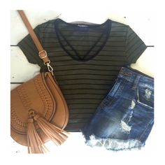 Striped Olive Crop Top New! Tops Tank Tops
