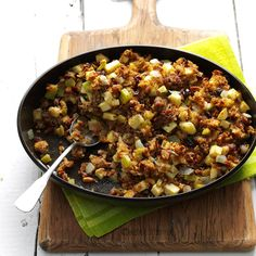 Raisin-Studded Apple Stuffing Recipe -This is the only stuffing my family will permit on our holiday table. With Italian sausage and a blend of so many great flavors, it's almost a meal in itself. No wonder it won first prize in a local recipe contest! —Teri Lindquist, Gurnee, Illinois