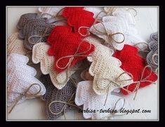 Delicadezas en crochet Gabriela: Corazones en espiga de navidad en crochet. Esquema.