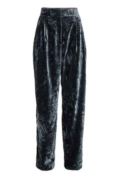 Wide velvet trousers: Wide, high-waisted, pleat-front trousers in crushed velvet with a zip fly, hook-and-eye fastener and side pockets.