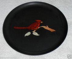 Vtg Courac Dinner Plate Cardinal Bird On Satin Black Dish Hand Inlaid Tray USA on eBay!