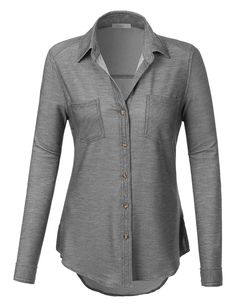 b936d74f LE3NO Womens Lightweight Distressed Button Down Shirt with Roll Up Sleeves  Tailored Shirts, How To