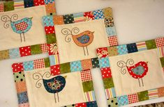 'Happy Birdies' mug rugs by listen to the birds sing, via Flickr. These would make nice blocks for a baby quilt