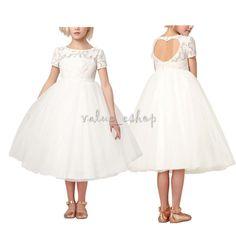0532b11d67 Girls Flower Girl Dress Princess Pageant Bridesmaid Wedding Communion Party  Gown