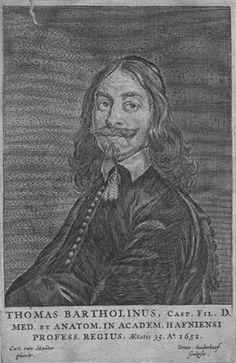 Bartholin Thomas 1616-1680. Brother of Rasmus Bartholin (https://www.pinterest.com/pin/287386019945368503 ), son of Caspar Bartholin the Elder (https://www.pinterest.com/pin/287386019949614943), father of Caspar Bartholin the Younger (https://www.pinterest.com/pin/287386019949613630). [Anatomia...Reformata... https://www.pinterest.com/pin/287386019946534305].