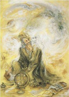 The Distant Drummer, Rumi (Deep Orange) Iran Politics Club: Mahmoud Farshchian Online Gallery Persian Miniature Paintings - Ahreeman X Esoteric Art, Persian Poetry, Art Asiatique, Iranian Art, National Art, Celtic Art, Celtic Dragon, Learn Art, Calligraphy Art