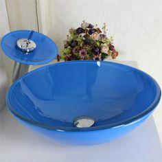彩色上絵洗面ボウル&蛇口セット 強化ガラス洗面台 ブルー手洗い器 排水金具 円形 VT0050