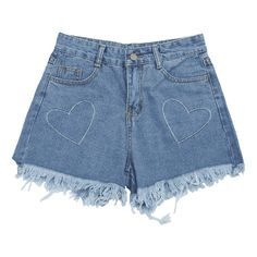 Cufoffs Heart Embroidered Denim Shorts (97485 PYG) ❤ liked on Polyvore featuring shorts, blue shorts, short jean shorts, embroidered shorts, denim short shorts and jean shorts