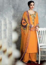 Party Wear Mustard Cotton Satin Embroidered Work Plazzo
