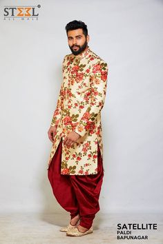 Embrace this classical yet, modern look for your special day :)   Pay a visit to Steel All Male and experience the world of stylish outfits TODAY!  #Menswear #Stylish #IndoWestern #Floral #ShopThisLook #FashionBlogger #SteelAllMale #Ahmedabad