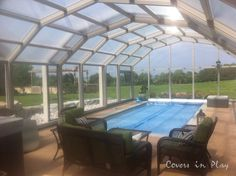 Sun-room on wheels. Like a sun-room, retractable enclosures provide an indoor setting with an outdoor view. Swimming Pool Enclosures, Patio Enclosures, Swimming Pools, Outdoor Pool, Indoor Outdoor, Automatic Pool Cover, Play Pool, Pool Cleaning, In Ground Pools