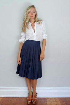 Crisp white shirt and navy pleated skirt ♥
