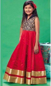 Crimson Color Silk A-line Style Party Wear Kids Frock Dress | FH519678925 #girls , #dress , #anarkali , #lehenga , #party , #gowns , #designer , #fashion , #boutique, #baby , #teenagers , #cloth , #readymade , #salwar , #kameez , #wear , #heenastyle , #online , @heenastyle , #ashin , #indian , #dupatta , #churidar , #ethnic