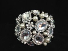 Dina chunky  style crystal and pearl bangle by simplychic93, $78.00