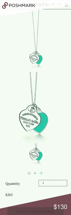 """🌺TIFFANY & CO. Return to Tiffany Double Heart Inspired by the iconic key ring first introduced in 1969, the Return to Tiffany collection is a classic reinvented. A delicate duo of engraved tags on a simple link chain exudes sophistication and elegance.  Sterling silver with Tiffany Blue enamel finish 16"""" chain  Additional photos: pressenjuice@gmail.com Tiffany & Co. Jewelry Necklaces"""
