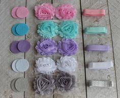DIY Pastel Shabby Headband Kit  - Supplies to make 5 Shabby Headbands