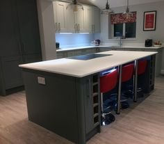Kitchen supplied by Benchmarx Leek. Shaker cabinets are a mixture of Somerset Grey and Sherwood Grey. Work surfaces are Apollo Slab Tech Ice White. Paint is Dulux Polished Pebble Benchmarx Kitchen, Kitchen Ideas, Dulux Polished Pebble, Shaker Cabinets, House Extensions, Work Surface, Kitchen Supplies, Somerset, Apollo