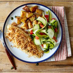 Cheesy Baked Fish With Courgette Salad