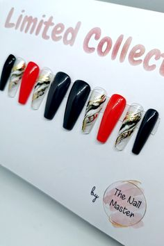 Now on SALE! Available also in shape Short Coffin. Visit us at TheNailMaster.etsy.com or simply click on the image to find out more! #pressonnails #uniquenaildesigns #nailart #clearpressonnails Stick On Nails, Glue On Nails, Best Press On Nails, Black Press, Nail Jewels, Clear Nails, Artificial Nails, Red Nails, Coffin