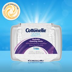 Introducing Ultra Comfort Care Flushable Wipes with a touch of shea butter for softness.