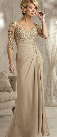 de18e19533 Eelgant Sleeves Lace Appliques and Chiffon Long Mother of The Bride Dresses,  Eelgant Sleeves Lace Appliques and Chiffon Lengthy Mom of The Bride Clothes  ...