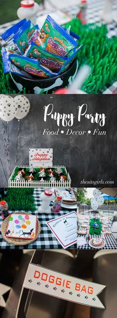 Throw the ultimate puppy party! Includes great ideas for setting up a puppy adoption, an adorable food table, fun puppy-themed craft, and puppy party decor! This party is great for a boy birthday party or a girl birthday party.