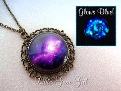 Purple Galaxy Necklace Glow in the Dark Jewelry Space Nebula - Vintage Style Pendant Necklace - Galaxy Jewelry Sci Fi Necklace $22.00