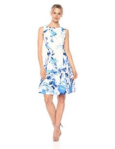 Gabby Skye Women's Floral Printed Pleated Fit and Flare Dress, Ivory/Blue, 14 Evening Dresses, Summer Dresses, Formal Dresses, Summer Fashion Trends, Fashion 2020, Flare Dress, Fit And Flare, Dresses Online, Dress Skirt