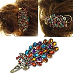 Peacock multi-colored crystal hairpin hair clip jewels