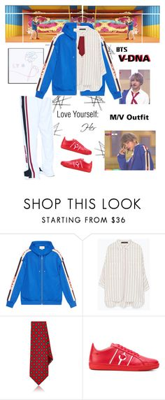"""""""BTS: V """"DNA"""" M/V Outfit"""" by itzbrizo on Polyvore featuring Gucci, Zara, Versace, kpop, bts, BangtanBoys, Bzo and LeftyCrew"""