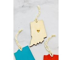 Indiana Heart Ornament - Silver in the City Silver In The City, Indiana Love, Wooden Ornaments, Bakers Twine, Baltic Birch Plywood, Heart Ornament, Hand Painted, Drop Earrings, Drop Earring