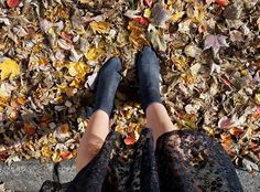Jumping into fall leaves with Jean Michel Cazabat booties!