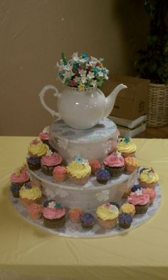 Tea Party Bridal Shower Cupcakes-I like the mix of ref and mini cupcakes! Bridal Shower Cupcakes, Tea Party Bridal Shower, Wedding Showers, Bridesmaid Duties, Cupcake Display, Best Friend Wedding, Mini Cupcakes, Maid Of Honor, Wedding Inspiration